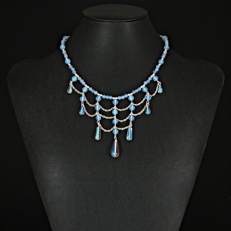 Available on Etsy – Opal glass tiered necklace with earrings